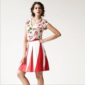 Anthropologie Floreat Pulsations Skirt Red White